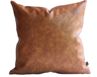 Thick Faux Leather Pillow Tan Pillow Cover Decorative For Couch Throw Pillow Case Brown Leather Cushion Cover Solid Color Kdays Pillow Cover