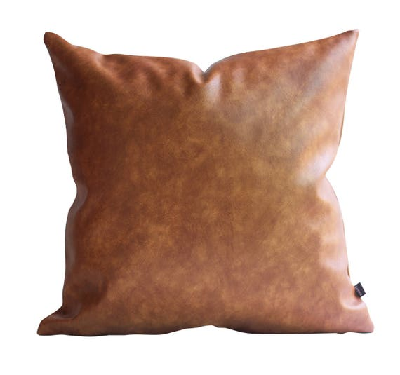 Cognac Brown Faux Leather Throw Pillow Cover Tan Pillow Cover Decorative For Couch Throw Pillow Case Brown Leather Vegan Cushion Cover