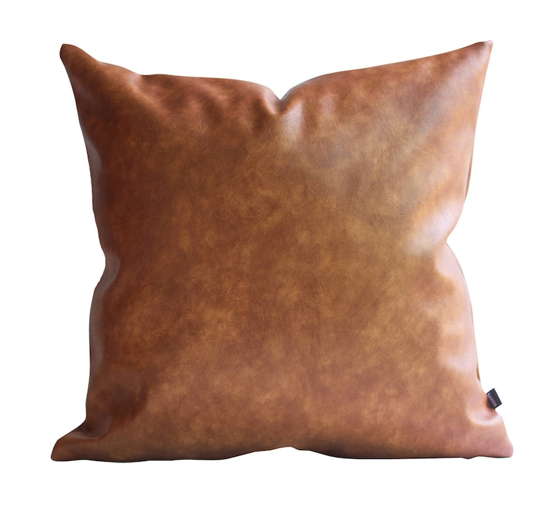 Cognac Brown Faux Leather Throw Pillow Cover Tan Pillow Cover image 0
