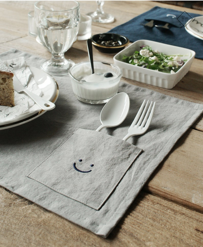 Embroidery Smile Placemat Kids Linen Placemat in 2 Colors Natural Table Mat Gray Placemat Blue Placemat Navy Placemat Linen Napkins