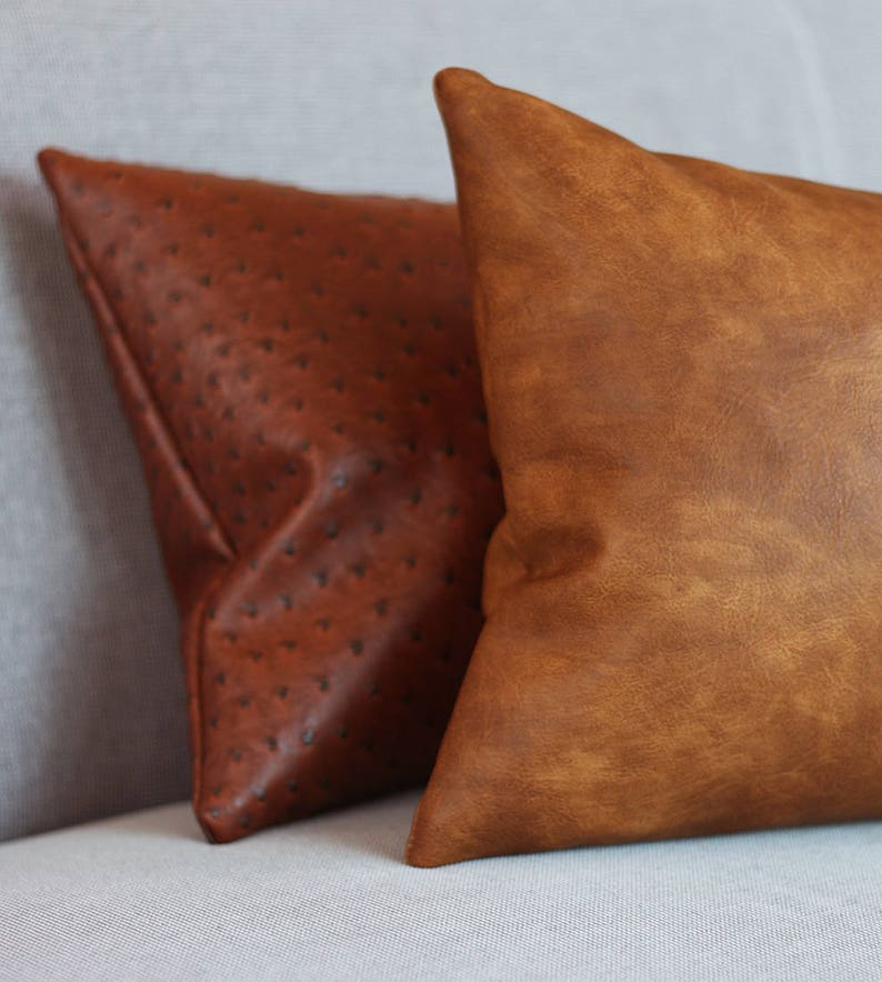Cognac Brown Faux Leather Throw Pillow Cover Tan Pillow