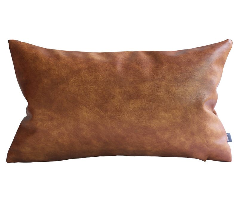 Merveilleux Thick Faux Leather Pillow Tan Pillow Cover Decorative For Couch Throw  Pillow Case Brown Leather Cushion Cover Solid Color Kdays Pillow 12x20