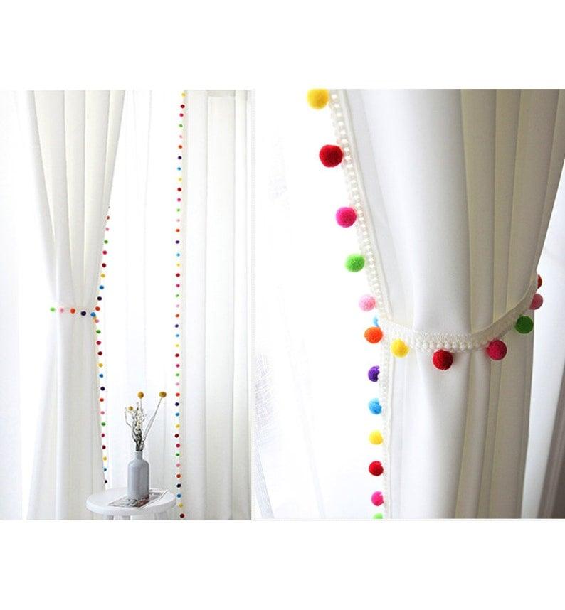 Pom Pom Vorhänge Kinder Vorhänge Gardinen Vorhänge | Etsy
