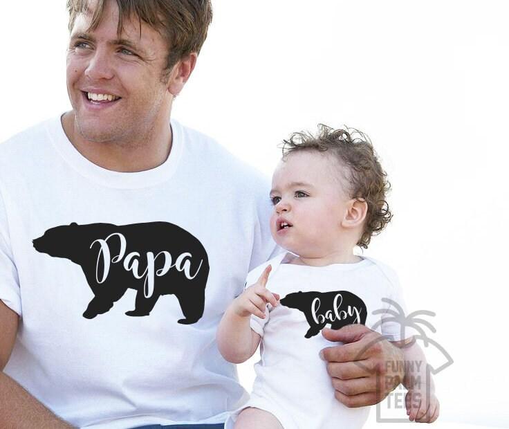 Père et fils cadeau fête des pères jour cadeau fils père et papa cadeaux fils cadeau et papa chemises fille et moi tenues papa et bébé papa ours shirt bebe d75624