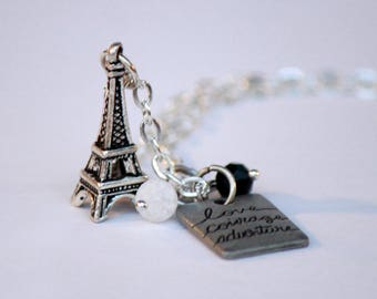 Love Courage Adventure Eiffel Tower Necklace