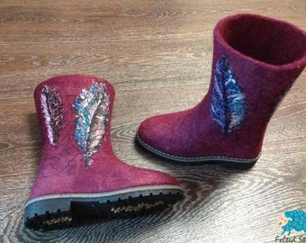 Felted boots - Winter boots - Women boots - Red boots - Warm boots - Snow Boots - Eco boots