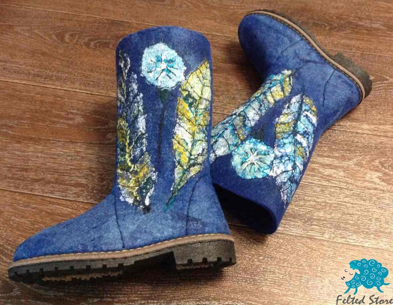 Eco boots Blue boots Snow Boots Women boots Felted boots Warm boots Winter boots