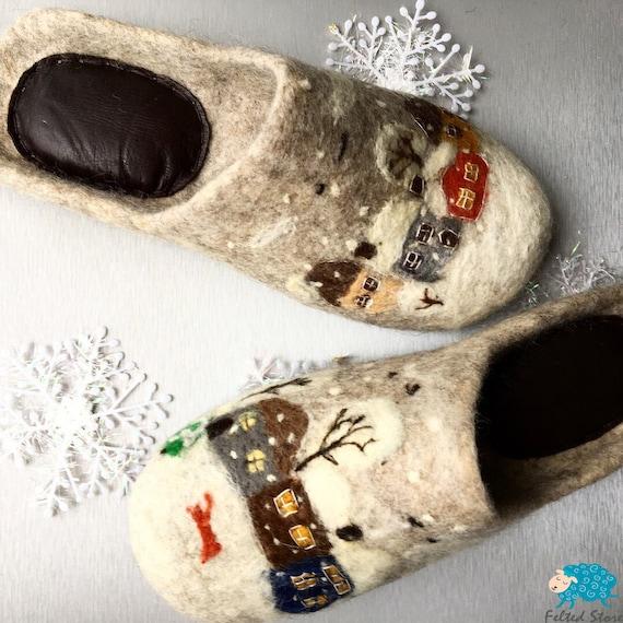 Handmade felt eco-slippers Christmas gift for your girlfriend