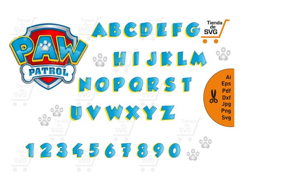 PAW PATROL Alphabet Svg Paw Patrol Escudo Svg Fonts Paw | Etsy