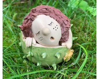 Chestnut Child Finley Autumn Decoration Ceramics Autumn Chestnuts Garden Decoration Decorative Ceramics