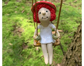 Swing elf Gunda garden decoration made of ceramic fly agaric lucky mushroom