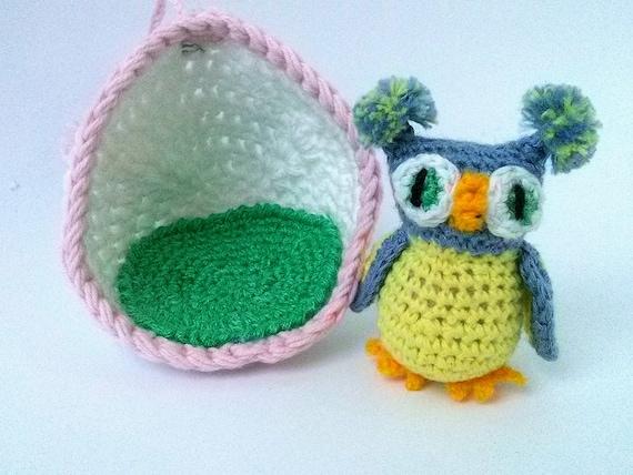 Amigurumi Owl Toy Crochet Owl Plush Cute Owl For Dollhouse Etsy