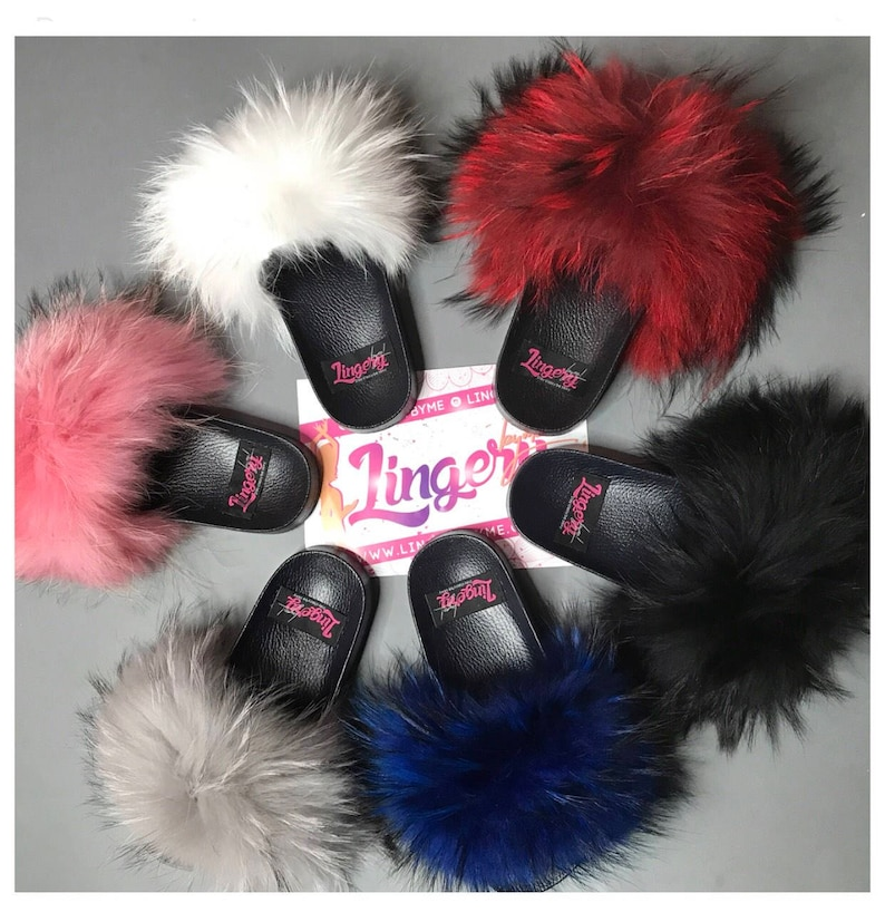 f002ca171742 Real fox fur slides fluffy slippers Rubber fur sandals real