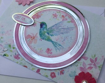 Just For You   Bird & Flowers   Birthday, Mothers Day handmade card