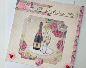 Let's Celebrate | Wine & Wine glasses handmade card