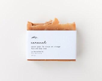 Caramel Soap Bar   Natural Body and Face Soap Bar  - vegan zero waste soap for sensible skin - Sweet Honey ChristmasSoap