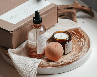 Self care gift set   welcome home set, thank you gift, self-care set for her, bath and body gift, room freshener kit, self-care at home