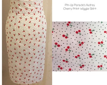Audrey Wiggle Skirt - A 1950s Style Wiggle/Pencil Skirt featured in Cherry Print
