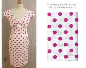 Maria Wiggle Dress Polka Dots - A 1950s Style Wiggle Dress with Cut Out Bust Detail