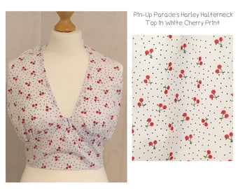 Harley Halterneck Top - A Vintage Style Halter-neck Tie Top in Cherry Print