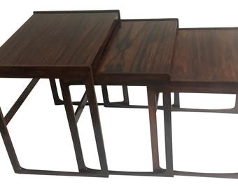 Kurt Ostervig for Jason Mobler Rosewood Nesting Tables with Sewing Basket