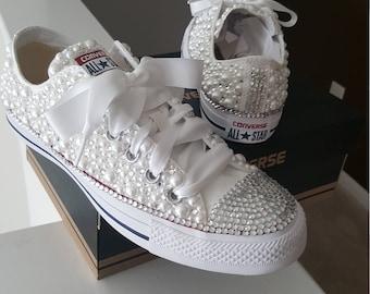 Custom Pearl Converse Bling eef2ee1eba