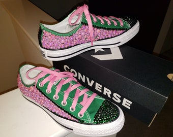 a3732da50ea4 Green converse with pink pearls