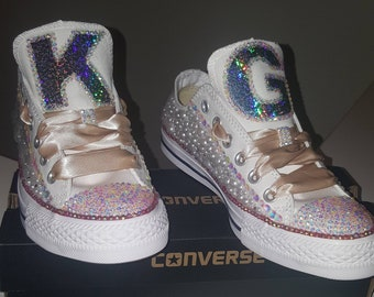 3c6f51272492 Red White Candy Converse Bling Sneakers