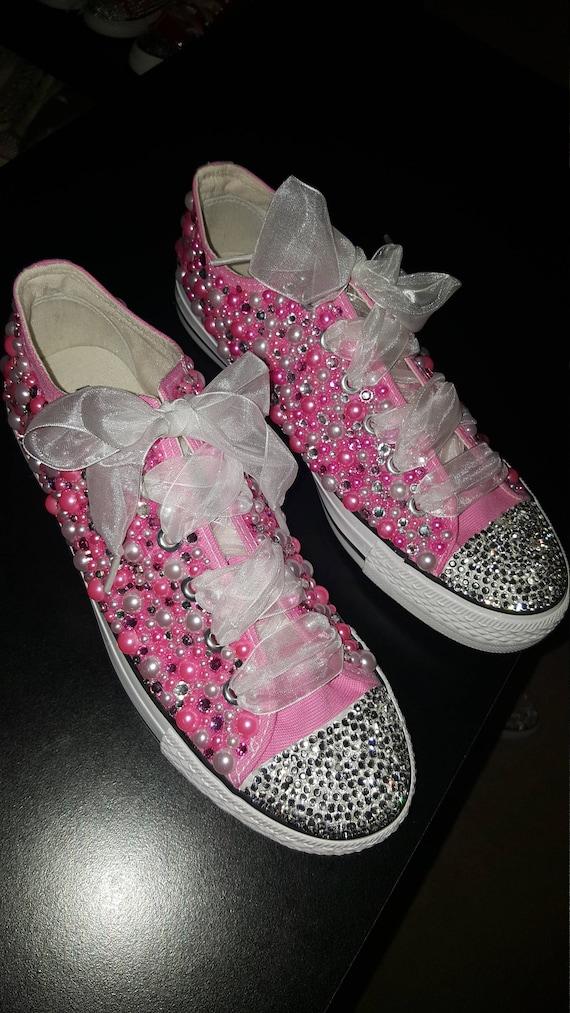 Pink Custom converse bling sneakers | Etsy