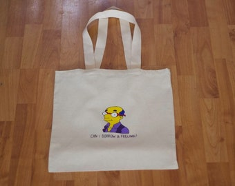 Kirk Van Houten hand painted, hand embroidered tote bag