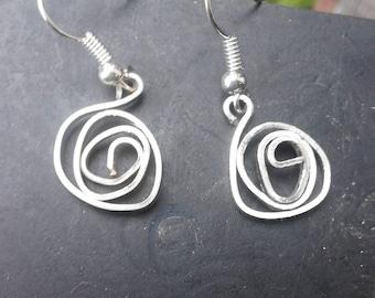 Handmade silver stylised rose earrings