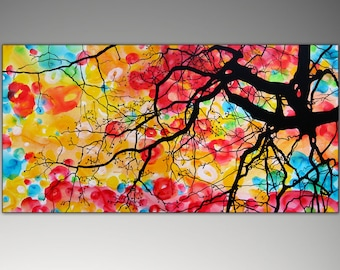 Abstract Tree Painting, Large Original Tree Painting on Canvas, Modern Tree Art, Wall Deco Trees