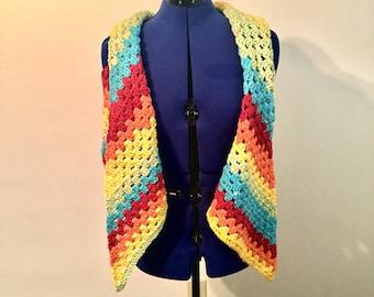 Granny triangle shawl - rainbow sprinkles
