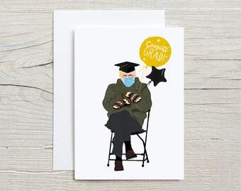 Bernie Mittens Graduation Card | Graduation Card | Class of 2021 | Bernie Meme | Balloons