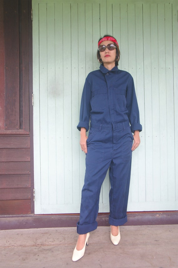 Vintage Overalls Navy Blue Coveralls size XS S ,Wo