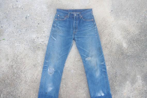 vintage levis 501 Blue Jeans W27 W28,levis ripped,