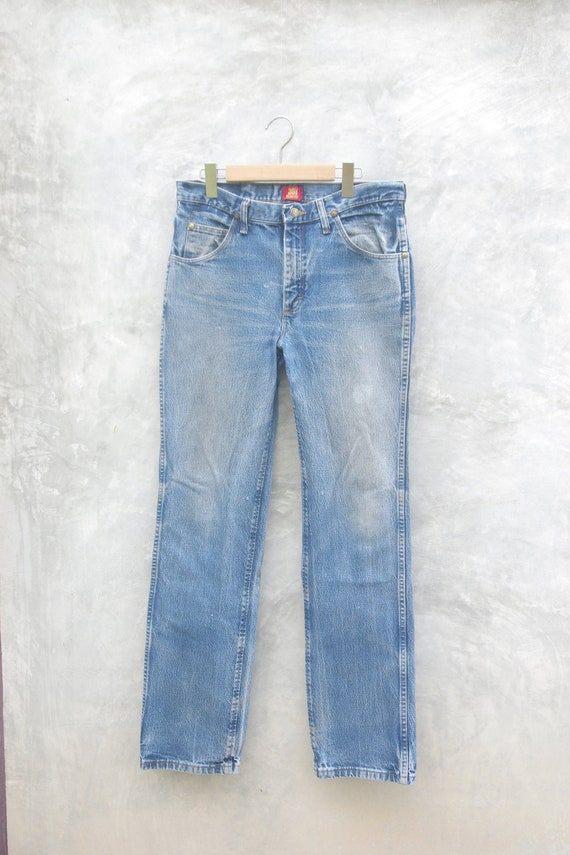 Faded jeans wrangler Blue Jeans W32,vintage jeans,