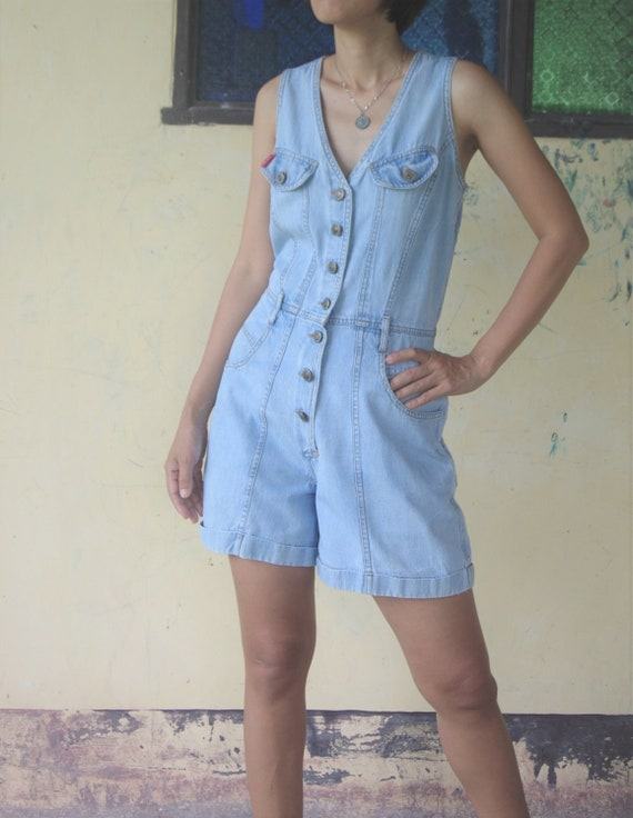 faded romper Vintage 80s  jumpsuit size M, blue Je