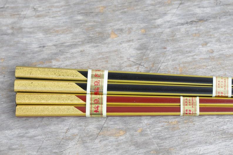 beautiful Vintage Wooden 2 Pair Chopsticks Set of 2 Chopsticks,With wooden box,New old stock Gold red,Chopsticks Japanese black