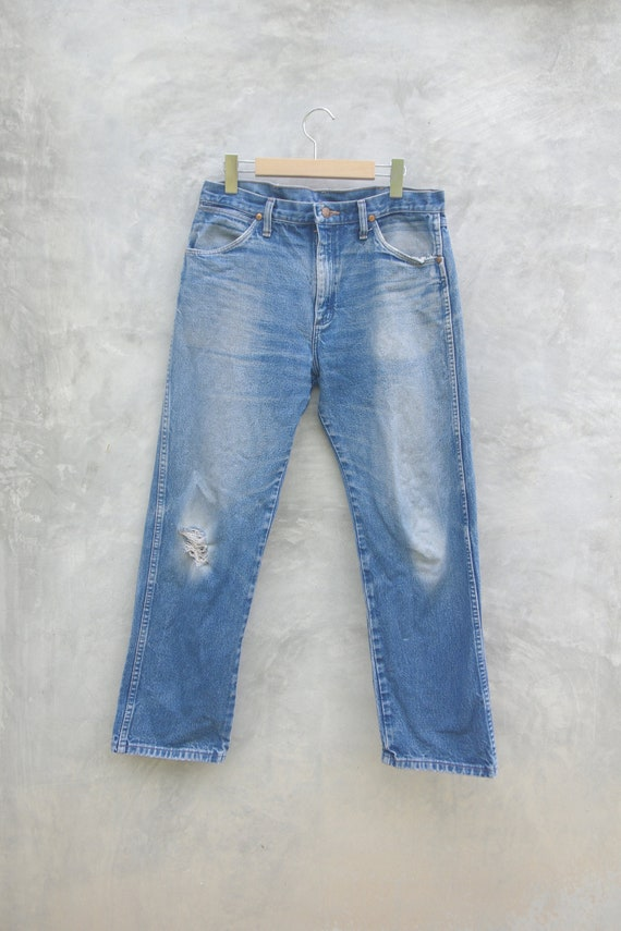 Faded jeans wrangler Blue Jeans W33,vintage jeans,