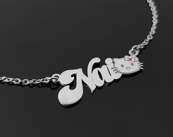 4416b6edf Personalized Hello Kitty Name Necklace For Girls Customize Any Name With  Birthstone, Perfect Gift For Little Girl Custom Kitty Jewelry