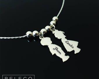 Personalised 3 Children Child Kids Girls Boy Necklace Jewellery Silver Plated UK Fashion Jewelry