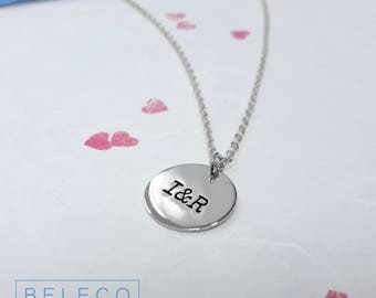 Personalised Circle Necklace, Customize Circle Necklace, Personalised Initial Necklace, Initial Disc Necklace, Customize Initial Necklace