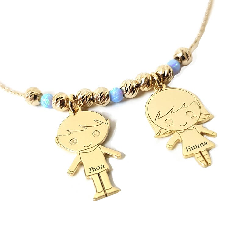 3b72b0155 Personalized Children Charms Necklace with Name Engraved And image 0 ...