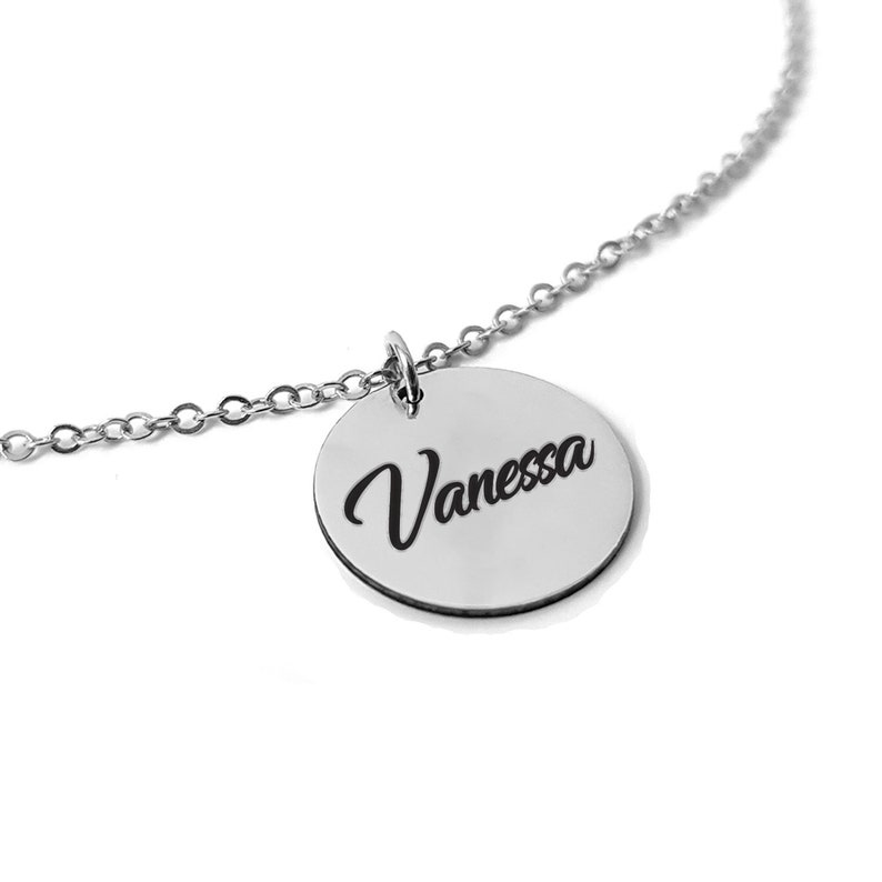 288df1a5213d7 Personalized Circle Necklace, Circle Name Necklace, Engraved Circle  Necklace, Circle Tag Necklace, Custom Name Pendant Name Jewelry