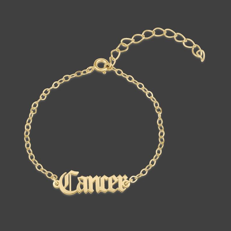 Cancer Bracelet Cancer Charm Bracelet Cancer Script Etsy