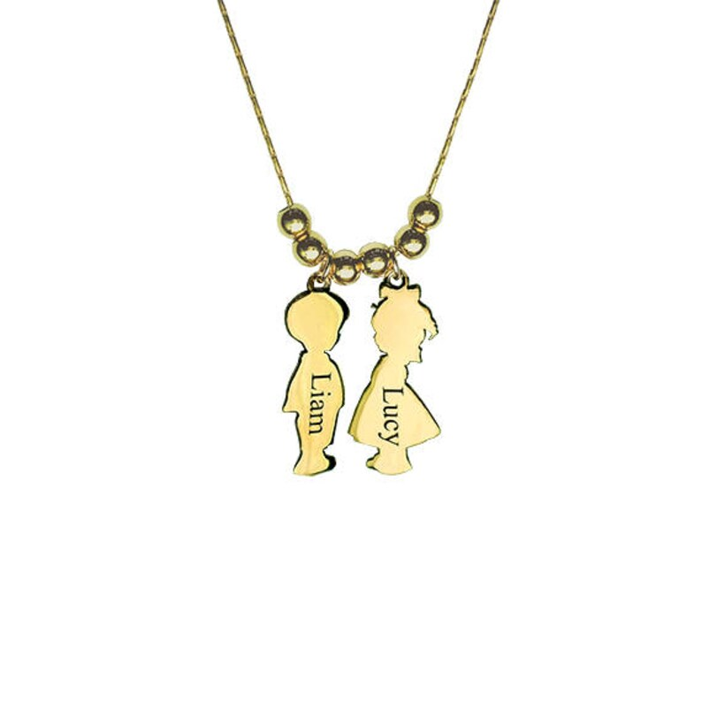 8206585fd Personalized Children Charms Necklace with Name Engraved Boy   Etsy