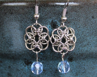 Blue and Silver Chainlink Earrings