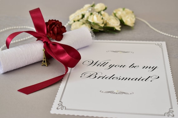 Will you be my Flower Girl Bridesmaid Page Boy Scroll Card Invitation A5