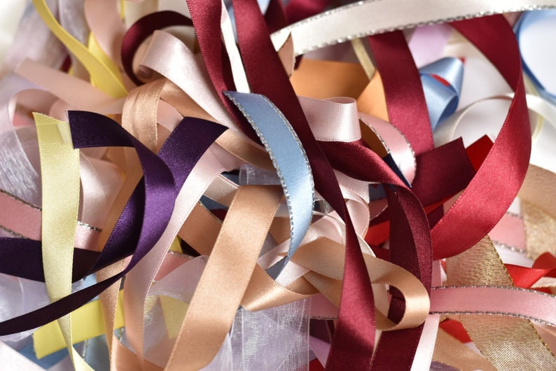 5d57553f25911 Satin Ribbons 15mm Scraps Leftovers Remnants | Crafting Scrapbooking |  Light Blue Pink Ivory White Yellow Purple Lilac Burgundy | Berisfords